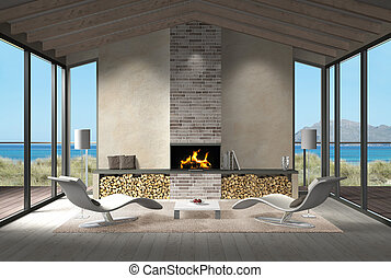 seaside living room with fire place in the dunes