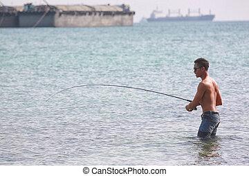 seaside., mannen, visserij, aziaat