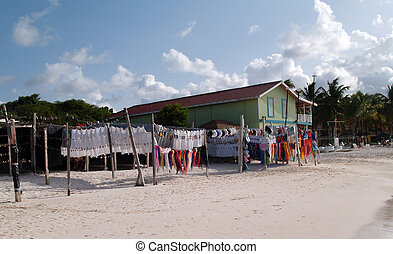Seaside market on Long Bay beach off the Atlantic Ocean on Antigua Barbuda in the Caribbean Lesser Antilles West Indies.