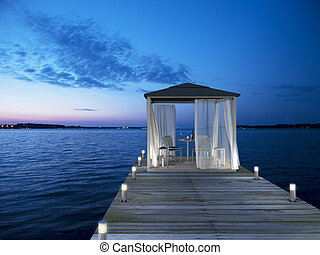 seaside pier with pavilion - 3D rendering showing a...