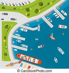 Seaside port aerial top view poster - Seaside dockyard ...