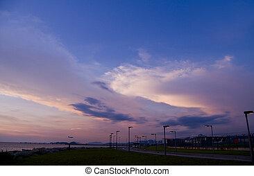seaside, solnedgang, vej