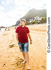 seaside., sourire heureux, homme