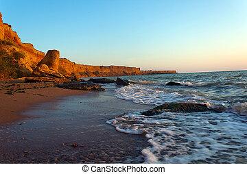 seaside tide - tide seaside with coast line beach