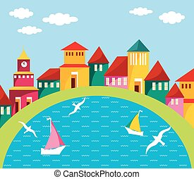 Seaside Town - Cartoon illustration of small cosy port town....