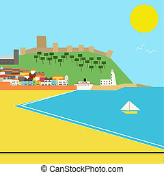 Seaside town vector landscape in a deco style