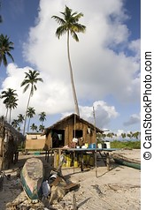 Seaside - Tropical seaside at Mabul Island in Sabah,...