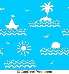Seaside vacation seamless pattern