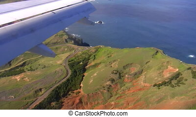 Seaside view from landing plane