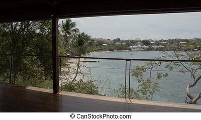 Seaside view from the resort bungalow - A panning shot of...