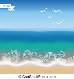 Seaside view vector background