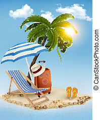 Seaside view with a palm tree, beach chair and parasol. ...