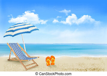 Seaside view with an umbrella, beach chair and a pair of ...