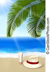 Seaside view with palm leaves, cream and traveller s hat...