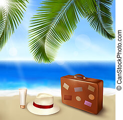 Seaside view with palm leaves, travel suitcase and a hat ...