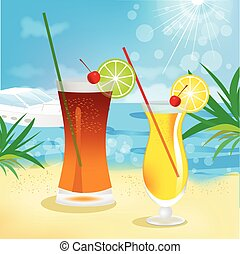 seaside view with tropical cocktails