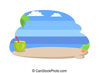 Seaside with Clear Blue Sky Vector Illustration
