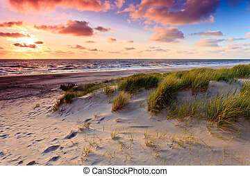 Seaside with sand dunes and colorfull sky at sunset