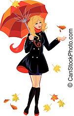 season., 隔離された, 秋, 背景, 傘, 女の子, 白