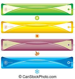 Season Banner - Four Season bookmark banner, vector...
