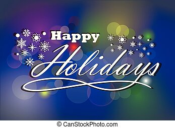Season Greeting Happy Holidays with light and dark blue background