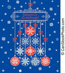 Season greetings for winter holiday with hanging paper...