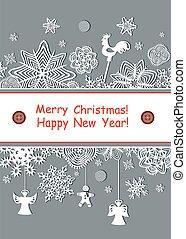 Season greetings with paper snowfla