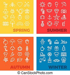 season icons - spring, summer, autumn, winter