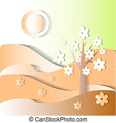season is spring. vector stylized image