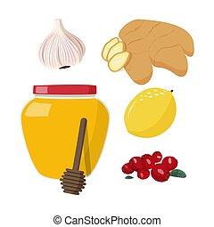 season., sain, vecteur, traitement, grippe, illustration, ensemble, malade, froid, maison, plat, nourriture.