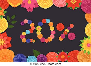 Season sale banner vector template. Twenty percent sale off