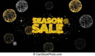 Season Sale Golden Text Blinking Particles with Golden...