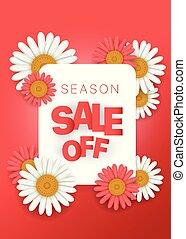 Season sale offer. Season sale vector banner. Vertical composition