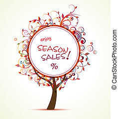 This image is a vector file representing a season sale tag concept.