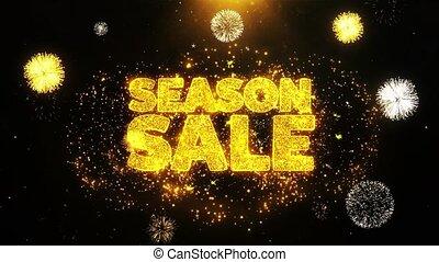 Season Sale Wishes Greetings card, Invitation, Celebration Firework Looped