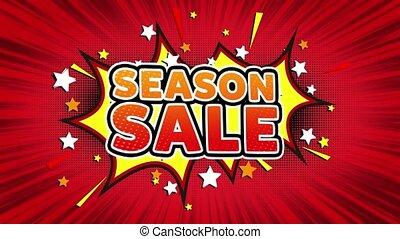 Season Sale Word Retro Cartoon Comic Bubbles Seamless loop