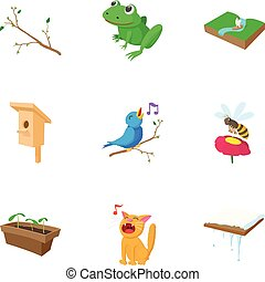 Season spring icons set, cartoon style