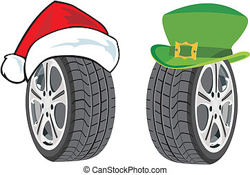 Season tire - Winter tyre in santa hat and summer tyre in...