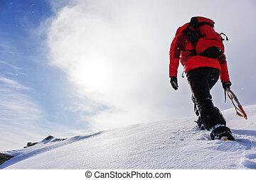 season., winter, besneeuwd, piek, beklimming, bergbeklimmer