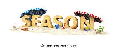 SEASON - word of sand. 3d illustration