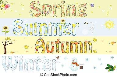 Season year winter spring summer autumn fall art symbol vector illustration