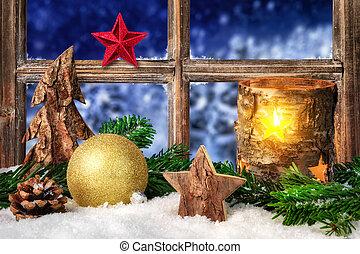 Seasonal arrangement on the window sill