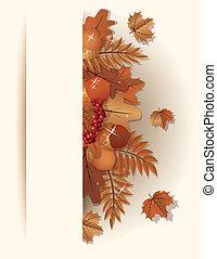 Seasonal autumn banner, vector