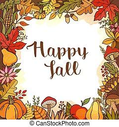 Seasonal autumn floral frame