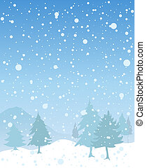 seasonal background - an illustration of a snowy seasonal ...