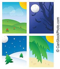 Seasonal Backgrounds - Four Seasonal Backgrounds (Spring,...