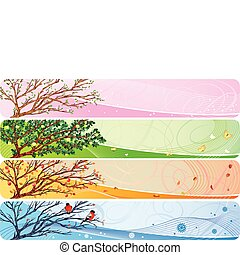 seasonal banner - 4in1 vector banner with seasonal theme.