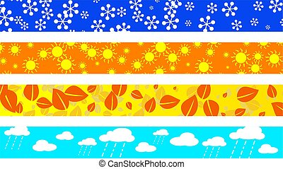seasonal borders - set of four decorative seasonal page...