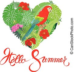 Seasonal card with Heart shape, palm trees leaves and Red Blue Macaw parrot. Handwritten calligraphic text Hello Summer. Isolated on white background. Element for travel and vacation design.