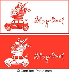 Seasonal card with small and cute retro travel car with luggage on red and white background. Calligraphic handwritten text Let`s go travel. Element for summer greeting cards, posters and t-shirts printing.